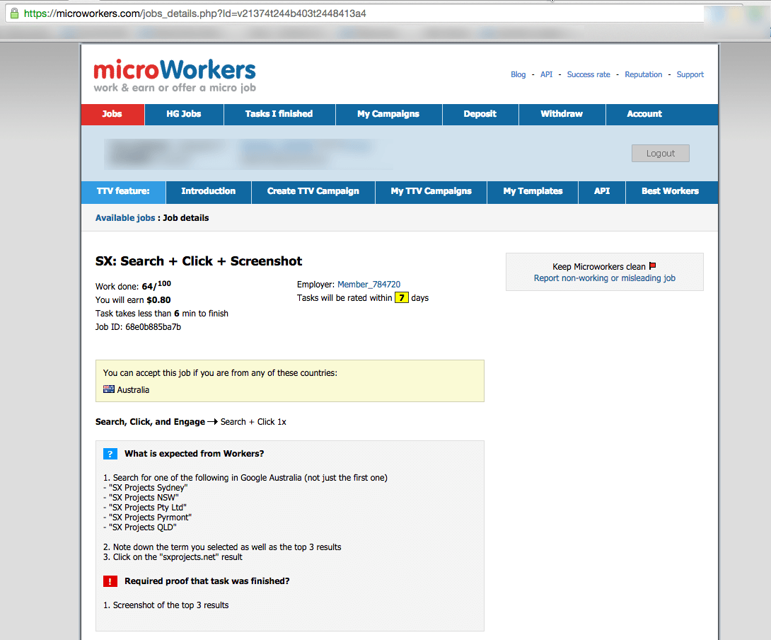 A screenshot of a microworker task asking for searches to be conducted for SX Projects, which appears to be an Australian phoenix company. The goal of the searches is to push down the negative search result highlighted below.